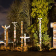 Totems in Stanley Park Vancouver at night — Stock Photo #29361325