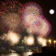 The July 4th firework over Hudson Rive — Stock Photo