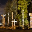 Totems in Stanley Park Vancouver at night — Stock Photo #29366849