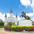 Saint Louis Cathedral and statue of Andrew Jackson — Stock Photo