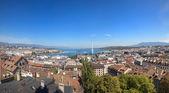 A Panoramic View of Geneva City and Lake Leman — Stock Photo