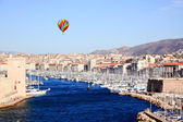 Aerial view of Marseille City and harbor — Stock Photo