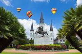 Saint Louis Cathedral and Jackson Square — Stock Photo