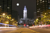The Philadelphia City Hall building at night — Stock Photo
