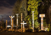 Totems in Stanley Park Vancouver at night — Stock Photo