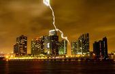 The skyline of Miami City at night — Stock Photo