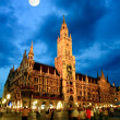 The night scene of Munich town hall — Stock Photo