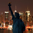 The Statue of Liberty and Manhattan Skyline — Stock Photo #29378835