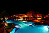 A luxury all inclusive beach resort at night — Stock Photo