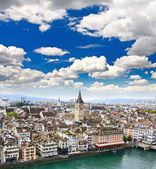 The aerial view of Zurich city — Stock Photo