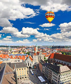The aerial view of Munich city center from the tower of the Peterskirche — Stock Photo