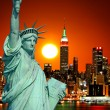 Stock Photo: The Statue of Liberty and New York City
