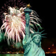 The Statue of Liberty and 4th of July fireworks — Stock Photo #29380319