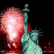 The Statue of Liberty and 4th of July fireworks — Stock Photo #29380447