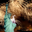 The Statue of Liberty and 4th of July fireworks — Stock Photo #29380553