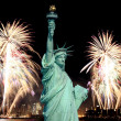 The Statue of Liberty and 4th of July fireworks — Stock Photo #29381067