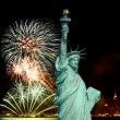 The Statue of Liberty and 4th of July fireworks — Stock Photo #29381141
