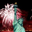 The Statue of Liberty and 4th of July fireworks — Stock Photo