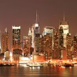 Stock Photo: ManhattSkyline at Christmas Eve
