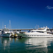 The yachts and boats in Miami harbor — Stock Photo