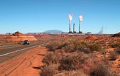 Colorado river with power plant — Stock Photo