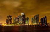 Miami City skyline at a stormy night — Stock Photo
