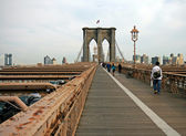 The famous Brooklyn Bridge on the East River in lower Manhattan — Stock Photo