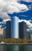 The high-rise office buildings in downtown Manhattan — Stock Photo