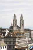 The Grossmunster Cathedral in Zurich — Stok fotoğraf