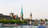 The major landmarks of Zurich cityscape — 图库照片