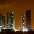 Miami City skyline at a stormy night — Stock Photo