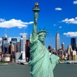 Stock Photo: Statue of Liberty and ManhattMidtown Skyline