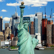 The Statue of Liberty and Manhattan Midtown Skyline — Stock Photo #29563367