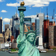 The Statue of Liberty and Manhattan Midtown Skyline — Stock Photo #29563373
