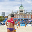 Brittany Hochevar & Lisa Rutledge (USA) vs Liliane Maestrini & Angela Vieira (BRA) during the FIVB International Beach Volleyball tournament — ストック写真