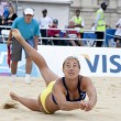 Постер, плакат: Denise Johns GBR in action during the FIVB International Beach Volleyball tournament