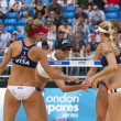 Jennifer Kessy & April Ross (USA) vs Brittany Hochevar & Lisa Rutledge (USA) during the FIVB International Beach Volleyball tournament — Stock Photo