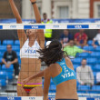 Постер, плакат: Fan Wang & Yuanyuan Ma CHN vs Candelas Bibiana & Mayra Garcia MEX during the FIVB International Beach Volleyball tournament
