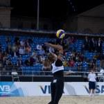 ������, ������: Zara Dampney GBR serves during the FIVB International Beach Volleyball tournament