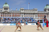 Heather Bansley & Elizabeth Maloney (CAN) vs Alejandra Simon & Andrea Garcia Gonzalo (ESP) during the FIVB International Beach Volleyball tournament — Stock Photo