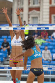 Fan Wang & Yuanyuan Ma (CHN) vs Candelas Bibiana & Mayra Garcia (MEX) during the FIVB International Beach Volleyball tournament — Stock Photo