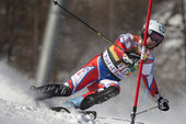 FRA: Alpine skiing Val D'Isere men's slalom. TREJBAL Filip. — Stock Photo