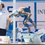 Постер, плакат: SWM: World Aquatics Championship Womens 100m breaststroke Rebbeca Soni