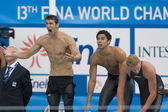 SWM: World Aquatics Championship - Mens 4 x 200m freestyle final — Stock Photo