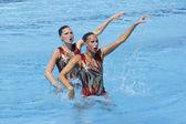 SWM: World Aquatic Championships - Synchronised swimming. Olivia Allison and Jenna Randall. — Stock Photo