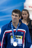 SWM: World Aquatics Championship - Ceremony mens 200m butterfly qualifier. Michael Phelps. — Stock Photo