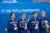 SWM: World Aquatics Championship - Mens 4 x 100m medley final. Aaron Pierson. — ストック写真