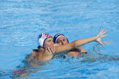 WPO: World Aquatics Championship - USA vs Croatia. Sandro Sukno, Adam Wright. — ストック写真