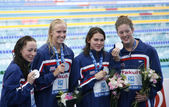 SWM: World Aquatics Championship - womens 4 x 200m freestyle final. — Stock Photo