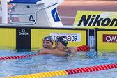 SWM: World Aquatics Championship - Womens 200m backstroke final. Kirsty Coventry, Elizabeth Beisel — Stock Photo